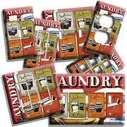 Rustic Laundry Room Washroom Rules Quotes Light Switch Plates Outlet Home Decor