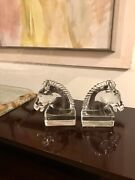 Vintage Art Deco 1930andrsquos Heisey Clear Crystal Glass Horse Head Bookends 7andrdquo