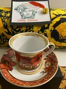 Versace Christmas Blooms Cup Saucer Set Rosentha Discontinued Sale