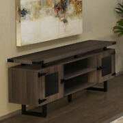 Modern Office Credenza With Metal Base And Glass Doors Conference Room Cabinet