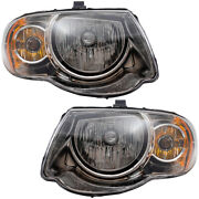 Pair Set Halogen Headlights Housing Assembly For 05-07 Chrysler Town And Country