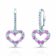 Pink Sapphire Diamond Heart Earring 14k White Gold Womens Natural Round 1.03 Tcw