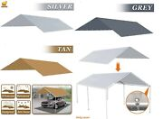 Waterproof Replacement Canopy 10x20 Ft Carport Tent Top Garage Cover Tie W Cords