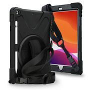 For New Ipad 10.2 Case 7th 2019 Rotatable Stand With Hand Strap Shoulder Strap