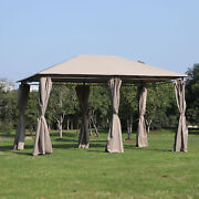 Outsunny 13and039 X 10and039 Steel Outdoor Patio Gazebo Pavilion Canopy Tent With Curtains