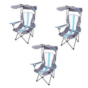 Kelsyus Premium Portable Camping Folding Lawn Chair With Canopy Blue 3 Pack