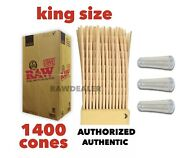 Raw Classic King Size Pre Rolled Cone 1400 Pack Full Box+3 Glass Cone Holder Tip