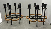 Pair Of Arthur Umanoff For Raymor Iron And Rattan 6-light Candle Holders Fs