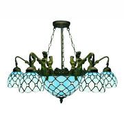 Chandelier Blue Stained Glass Ceiling Light Indoor Pendant Lamp Fixture
