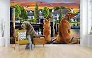 3d Dogs On The Quay A22 Wallpaper Wall Mural Self-adhesive Adrian Chesterman Zo