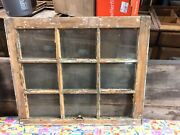 """C1890 Antique 9 Pane Window Salvaged From Local Victorian Home 28 X 23 6x7.75"""""""