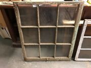 """C1890 Antique 9 Pane Window Salvaged From Victorian Home 34.5 X 40.5 10x11.5"""""""