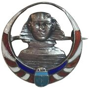 Antique Meyle And Mayer Sterling Enamel Egyptian Revival Sphinx Scarab Brooch