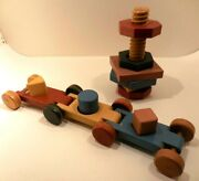 Vtg 1940s Holgate Toys Wood Coupling Form Blox Blocks Pull Toy And Stacking Blocks