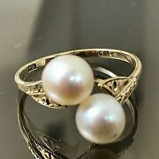 14k Yellow Gold Vintage Pearl Ring Solitaire Bridal Style Akoya Quality Japan