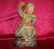 1800s Chinese Temple Guardian Statue 26cm Wood Carving Polychrome Gilt Qing Dyn