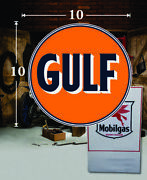 10 X 10 Gulf Shield Gas Vinyl Decal Lubester Oil Pump Can Lubster