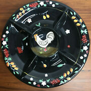 Handcrafted Hand Painted Black Round Chip And Dip Farmhouse Rooster Deco Platter