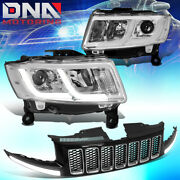 For 2014-2016 Grand Cherokee Projector Headlight Lamp+led Drl Upper Grille Grill