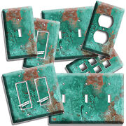 Rusted Copper Green Patina Rustic Look Light Switch Outlet Wall Plate Room Decor