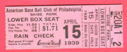 Vintage 1939 Philly A's Ticket Stub-4/15/39 At Shibe Park