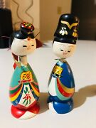 Over 17 Vintage Kokeshi Wooden Carved Dolls Kimono Hand Painted Bobble Head
