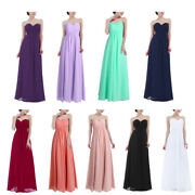Ladies Strapless Chiffon Wedding Bridesmaid Dress Long Evening Party Prom Gown