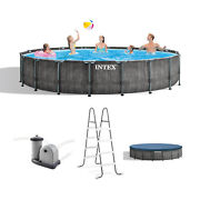 Intex Greywood Prism 18ft X 48in Frame Above Ground Swimming Pool Set With Pump