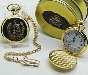 Pakistan Coat Of Arms Crest Gold Pocket Watch Engraved Personalised Metal Case