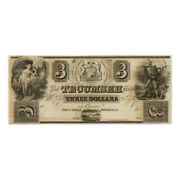 Jcr_m Usa 1830andacutes 3 Dollars Obsolete Currency Us Tecumseh Bank Michigan Unc