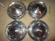 Used Set 1956 Chevrolet Car Dog Dish Hub Caps Four Have Dents, Paint Issue/clean