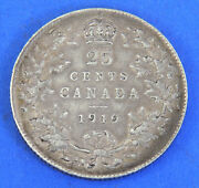 1919 George V Silver Canadian 25 Cents Coin Uncirculated