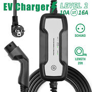 Portable Ev Charger Car Charging Cable 20ft 10a/16a Type 2 Schuko Mode 2 Evse