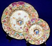 Vtg Capodimonte Armorial Plate And Bread And Butter Plate- Made In Germany