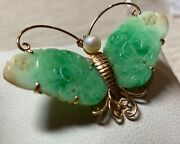 Vintage 14k Yellow Gold Apple Green Jade Ruby And Pearl Butterfly Brooch
