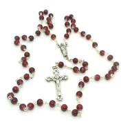 Burgundy Italian Murano Glass Style Bead Our Lady Of Guadalupe Rosary From Italy