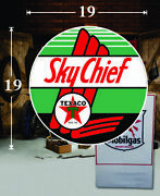 19 X 19 Texaco Sky Chief Shield Gas Vinyl Decal Lubester Oil Pump Can Lubster