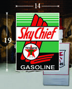 19 X 14 Texaco Sky Chief Shield Gas Vinyl Decal Lubester Oil Pump Can Lubster