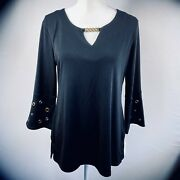 Jm Collection Bell Sleeve Key-hole Hardware Detail Top Small