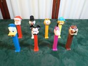 8 Vintage Pez Dispensers-mickey Mouse/donald Duck/dino/garfield Plus