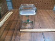 Vintage Square Glass Candy Jar / Container - Advertising - Commerce Bank