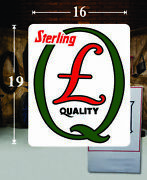 19 X 16 Sterling Quaker Motor Oil Gas Vinyl Decal Lubester Pump Can Lubster