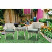 Resin Wicker And Metal Patio Bistro Set With Two Chairs And Table Beige And ...