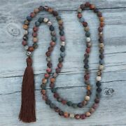 Natural Stone Knotted 108 Mala Beads Necklaces For Women Girls Yoga Jewelry Gift
