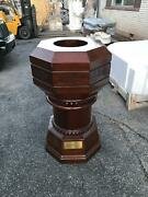 Beautiful Antique Mahogany Church Holy Water Font From A Closed Church - Cc45