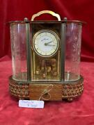 Vintage Music Box With 8 Day Schmid German Mantel Clock Brass And Glass