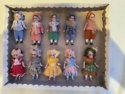 10 Antique Porcelain Dolls In The Original Box With Glass Eyes