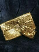 Vintage - Whiting And Davis - Gold Tone Mesh Clutch And Matching Wallet/coin Purse