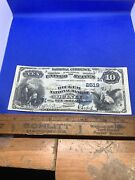 1882 10 National Currency Ch 2519. Quincy Il -high Grade, Must See