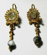 Zurqieh -as16365- Ancient Roman Gold Earrings With Glass Beads. 100 - 200 A.d